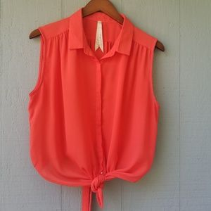 Mystree Stitchfix Orange Red Tie Front Back Tank L